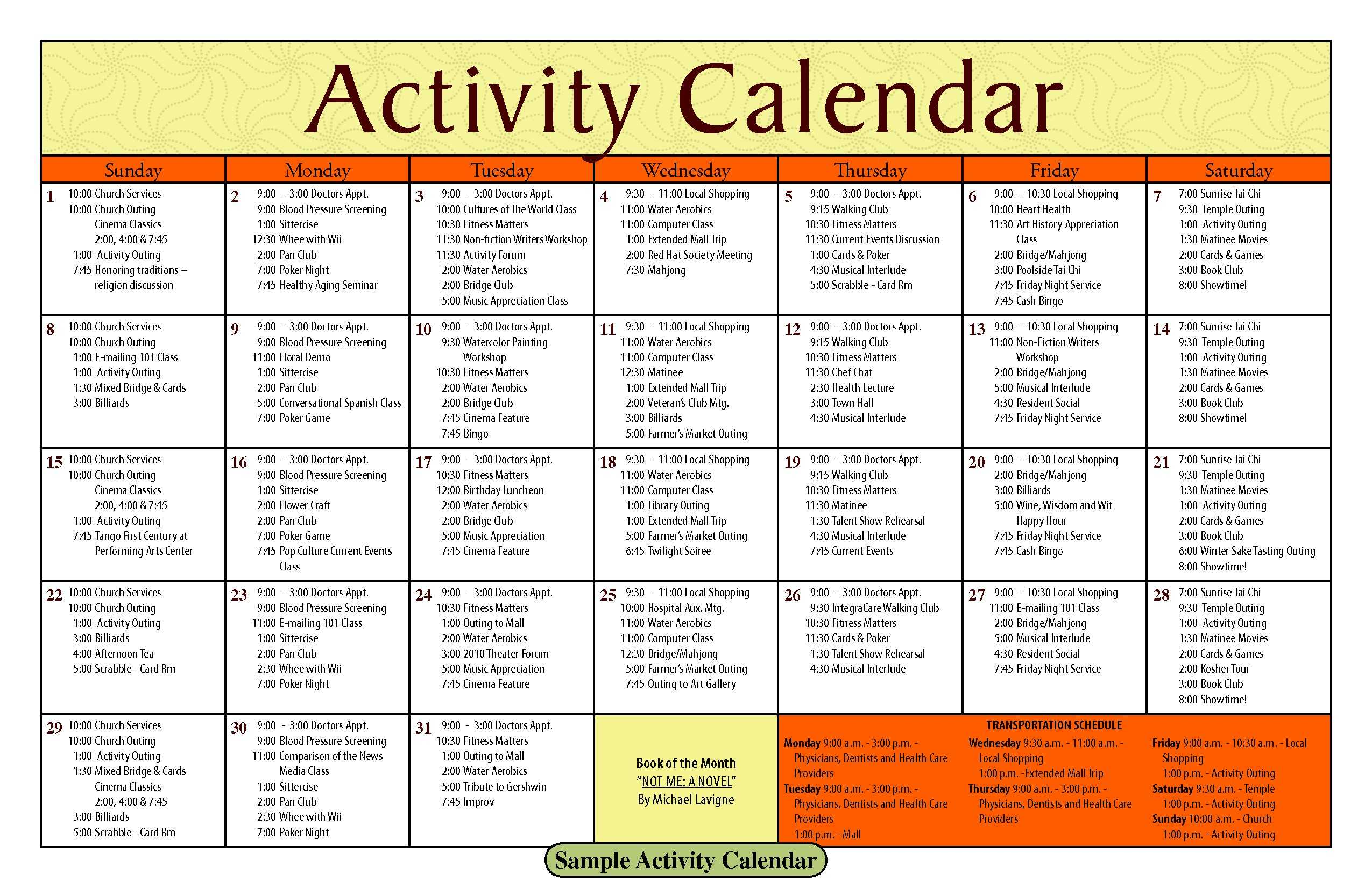 Activity Calendar Template – Printable Week Calendar with regard to Blank Activity Calendar Template