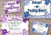 Adopt-A-Teddy Bear Adoption Certificate And Sign Set with regard to Toy Adoption Certificate Template