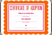 Adoption Certificate Template – Certificate Templates for Blank Adoption Certificate Template