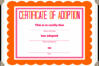 Adoption Certificate Template Free – The O Guide for Toy Adoption Certificate Template