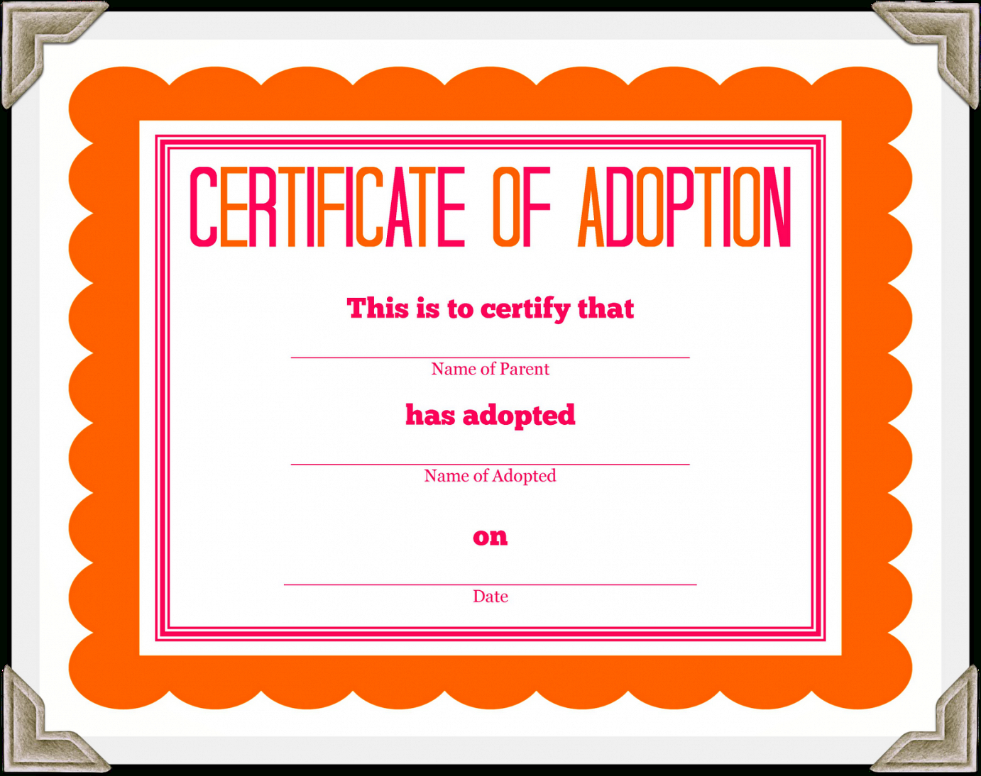 Adoption Certificate Template Free - The O Guide for Toy Adoption Certificate Template