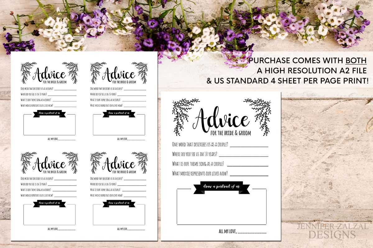 Advice Card Template. Advice For The Newlyweds. Marriage Within Marriage Advice Cards Templates