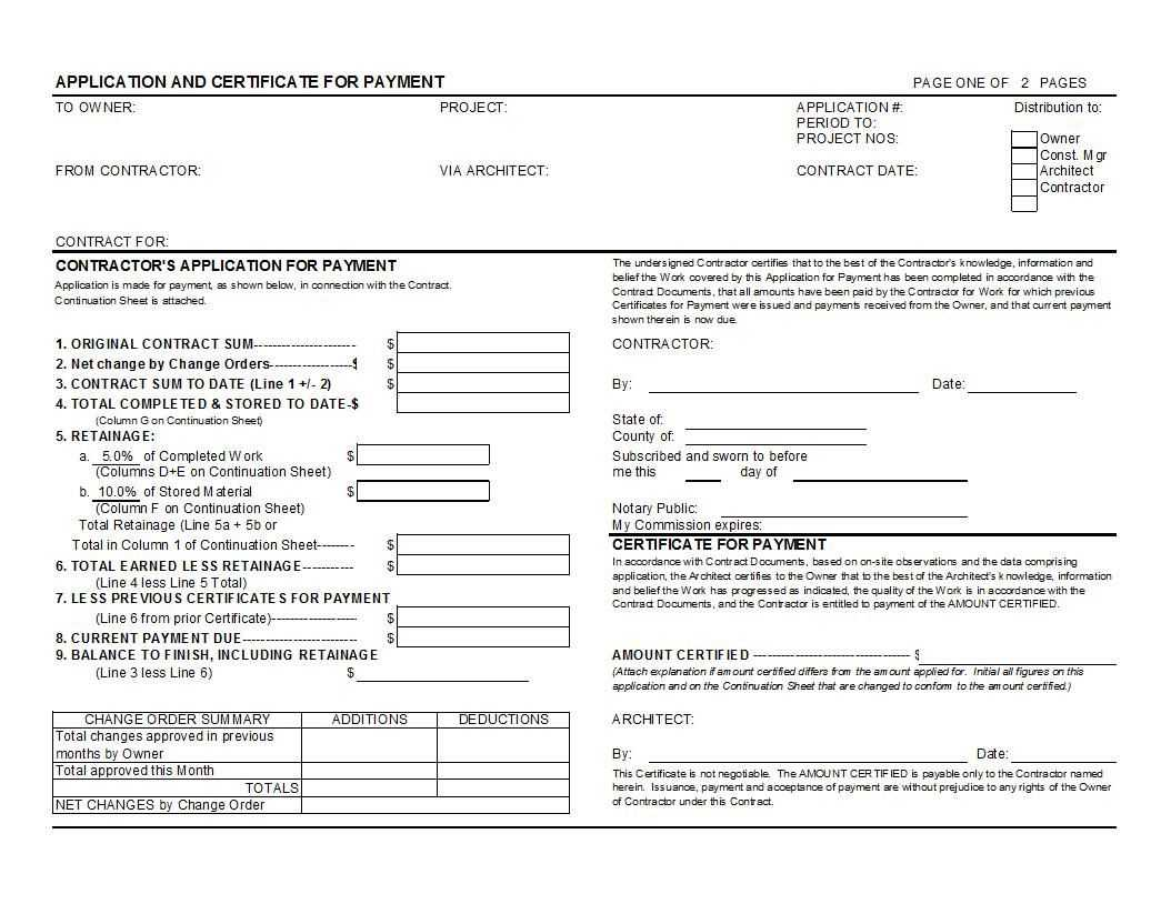 Aia G702 And G703 Style Application For Payment And within Certificate Of Payment Template