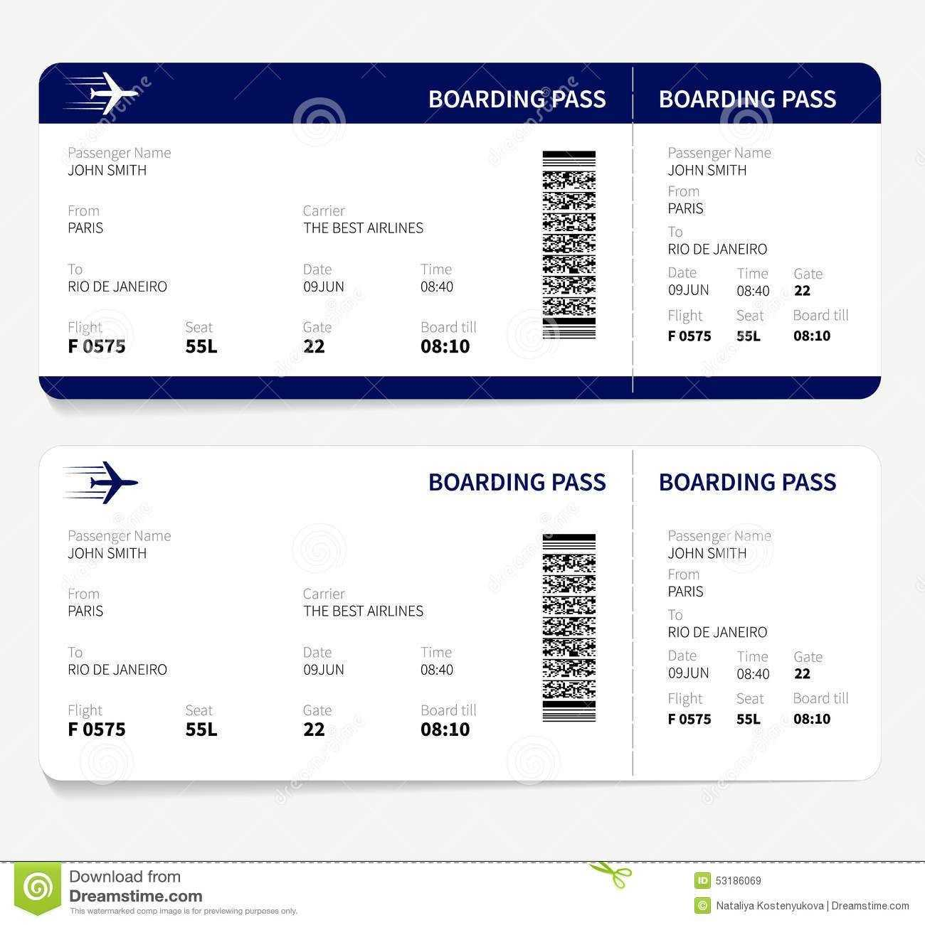 Airline Ticket Template Free Sample Customer Service Resume Throughout Plane Ticket Template Word