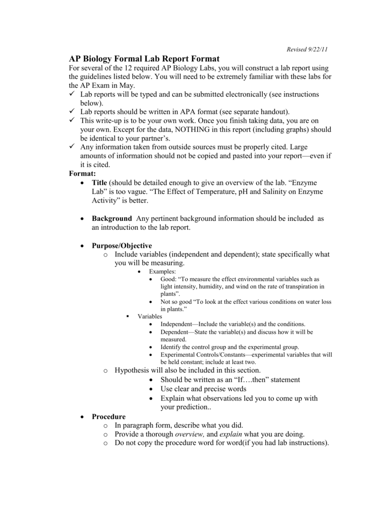 Ap Biology Formal Lab Report Format intended for Biology Lab Report Template