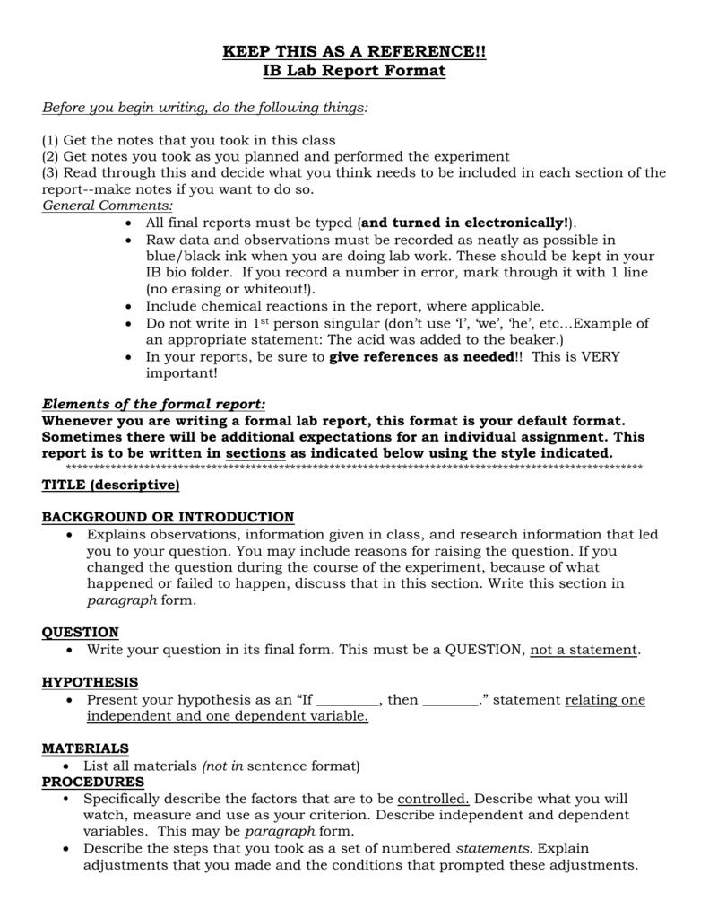 Ap/ib Lab Report Format with regard to Ib Lab Report Template
