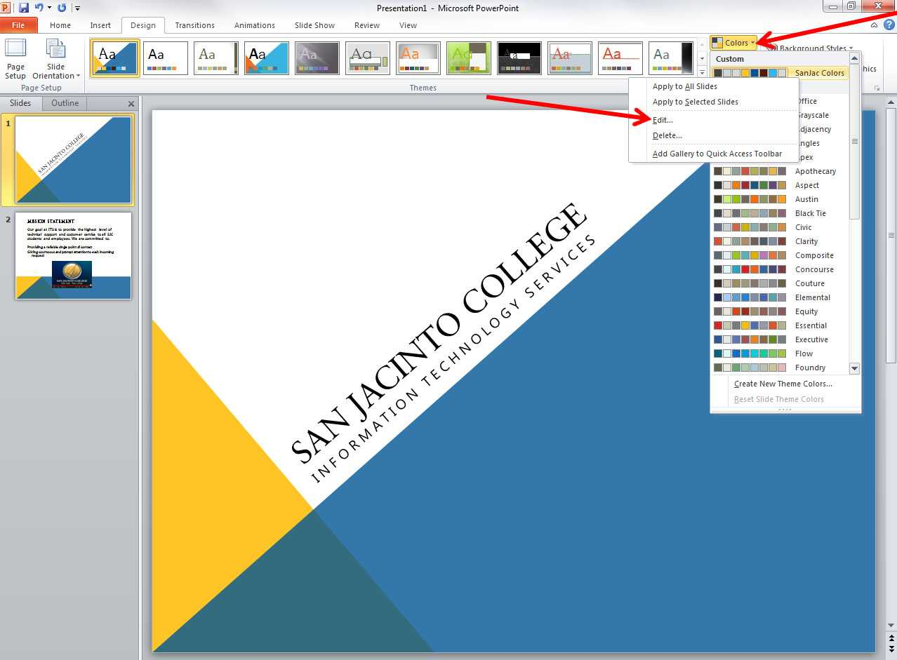 Applying And Modifying Themes In Powerpoint 2010 in How To Edit A Powerpoint Template