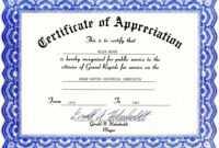 Appreciation Certificate Templates Free Download inside Free Template For Certificate Of Recognition