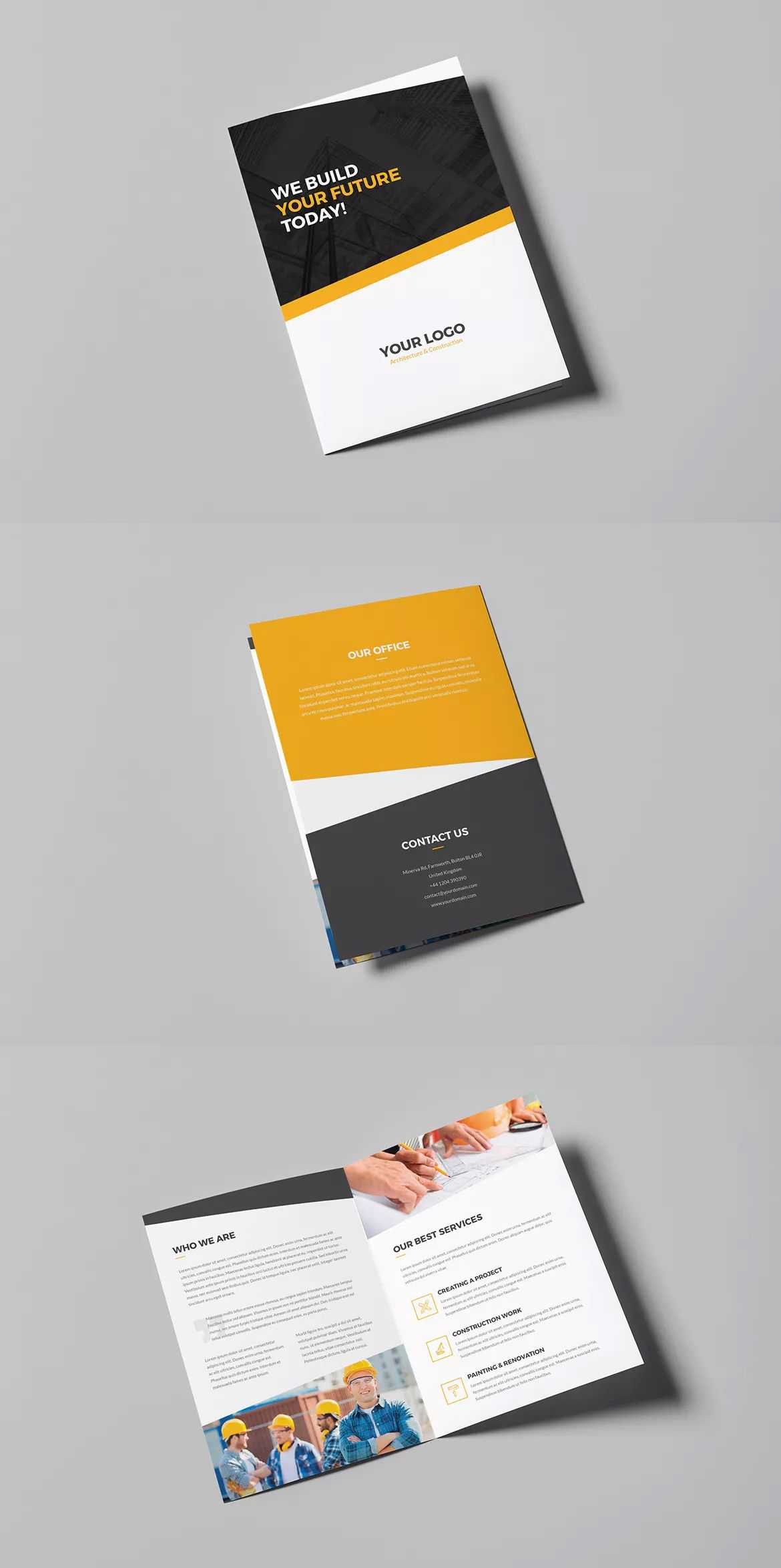 Architecture And Construction Bi-Fold Brochure Template Psd with regard to Two Fold Brochure Template Psd