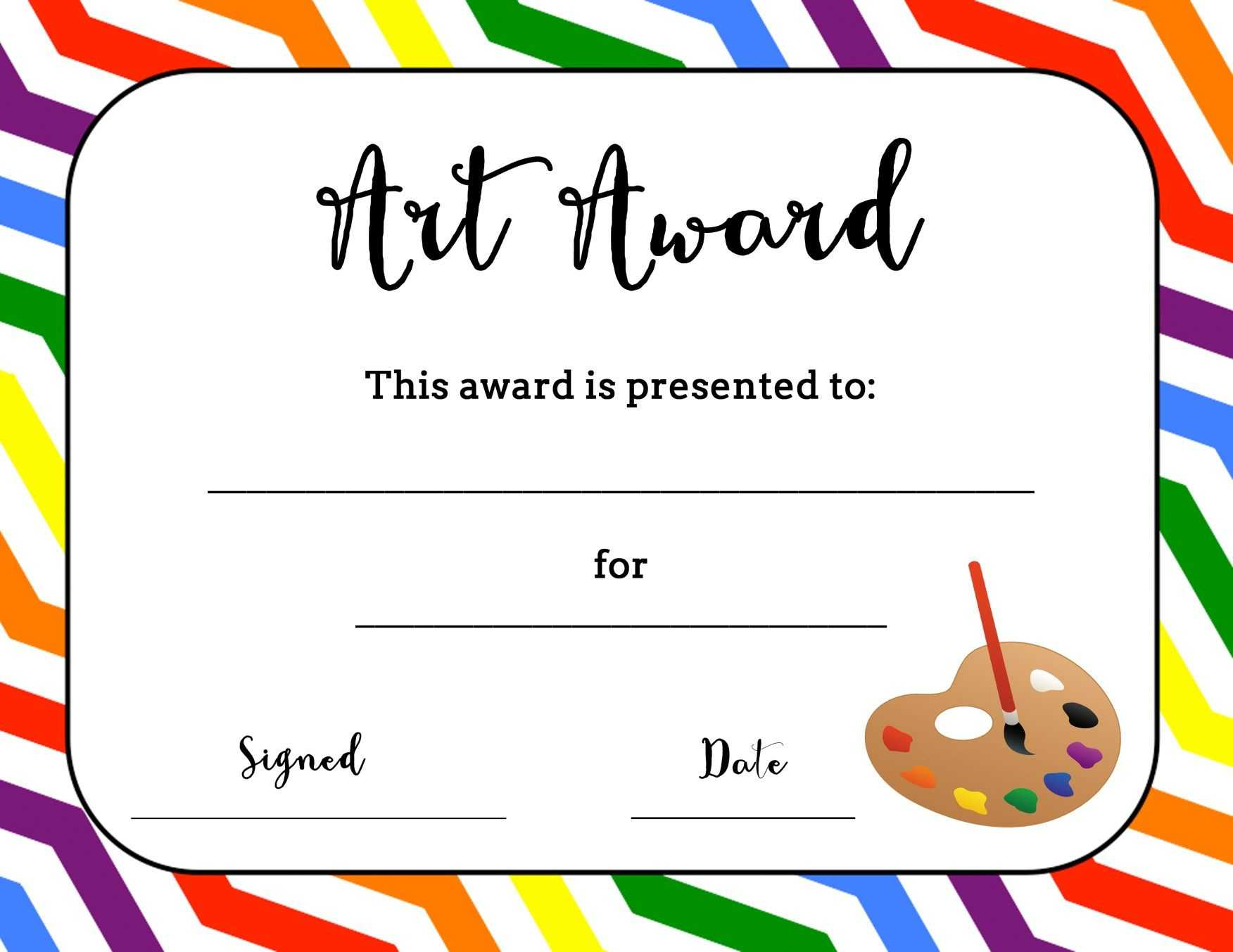 Art Award Certificate (Free Printable) | Art Classroom regarding Free Art Certificate Templates