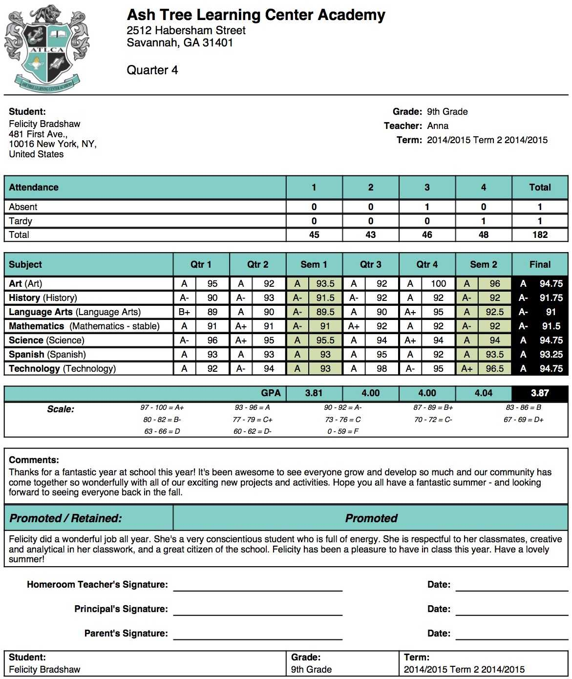 Ash Tree Learning Center Academy Report Card Template Inside Middle School Report Card Template