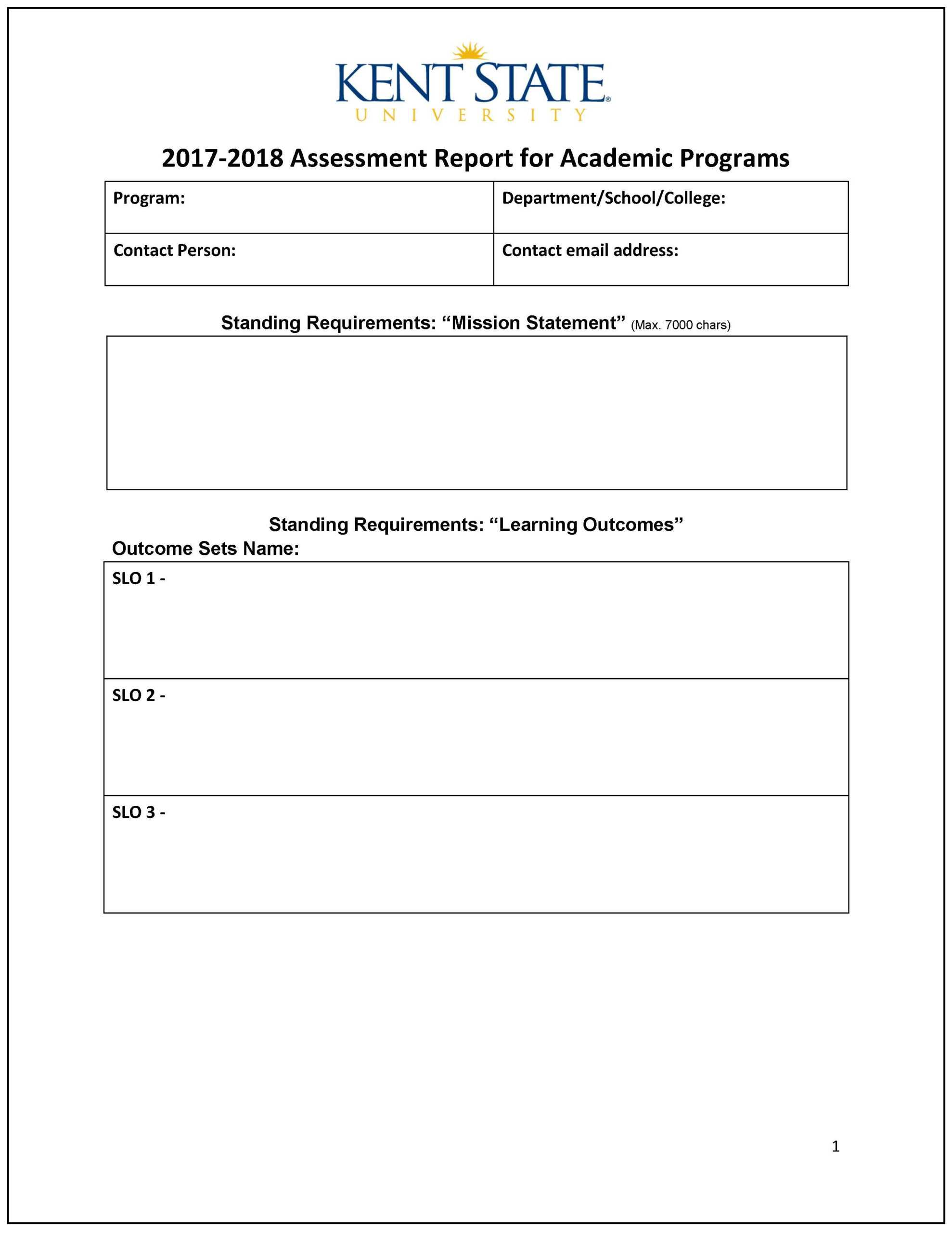 Assessment Report - Word Template | Accreditation Within State Report Template