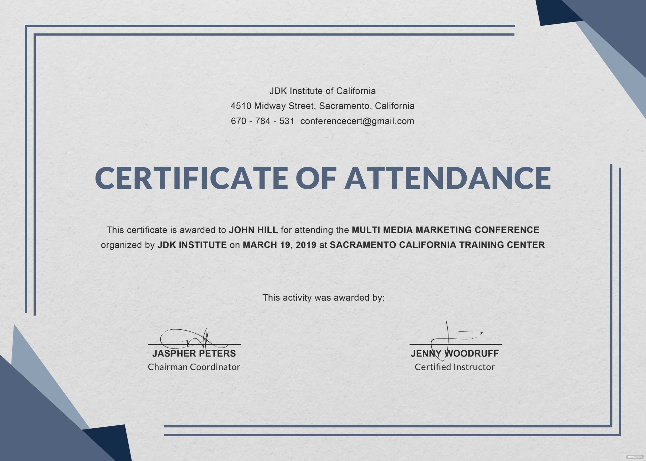 Attendance Certificate Template Free Perfect Employee Word with regard to Conference Certificate Of Attendance Template