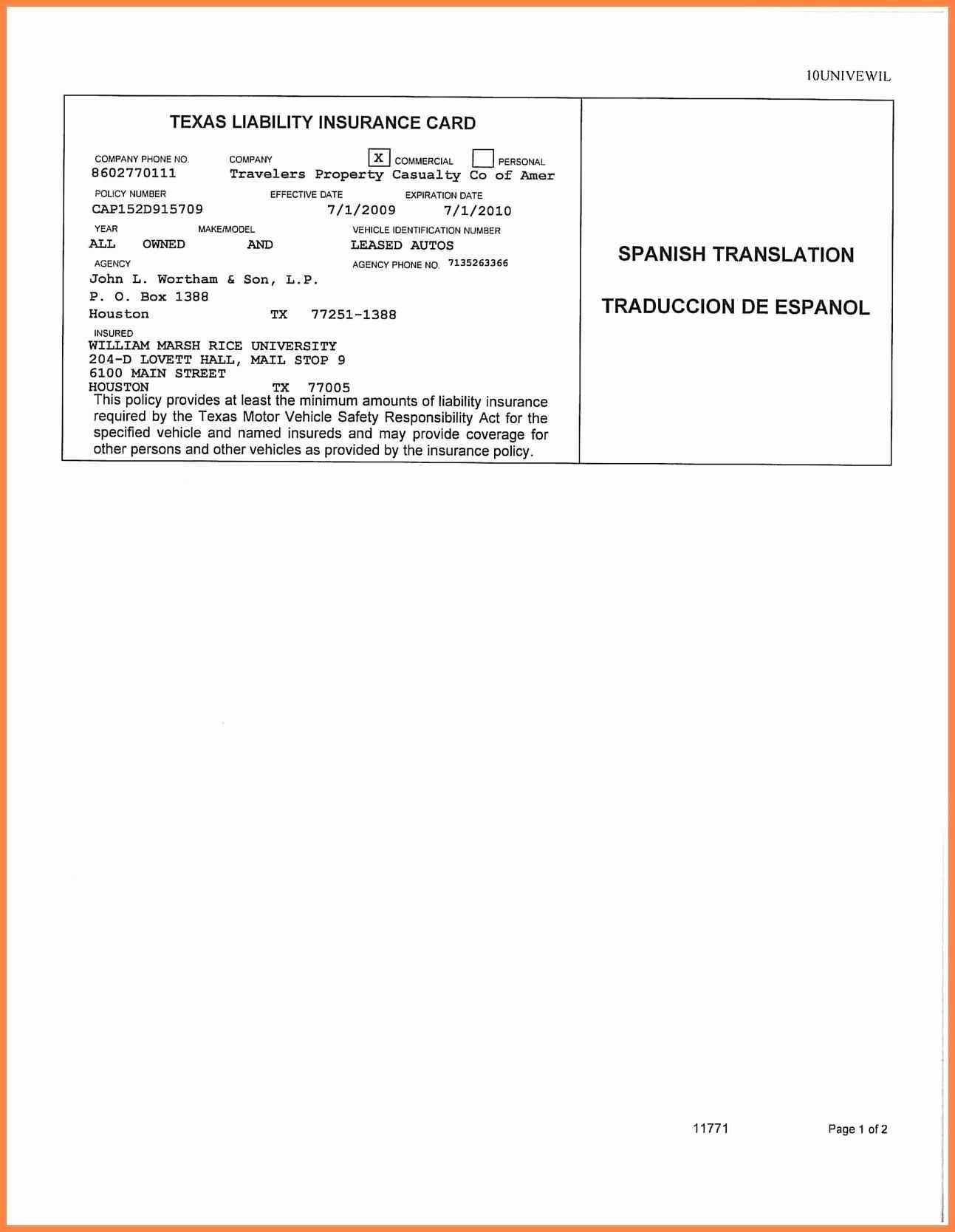 Free Fake Auto Insurance Card Template - Douglasbaseball.com