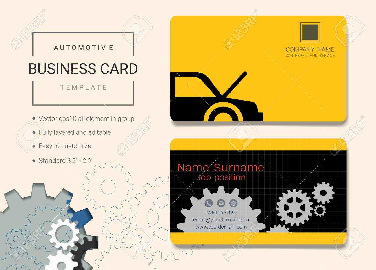Automotive Business Card Or Name Card Template. Simple Style.. pertaining to Automotive Business Card Templates