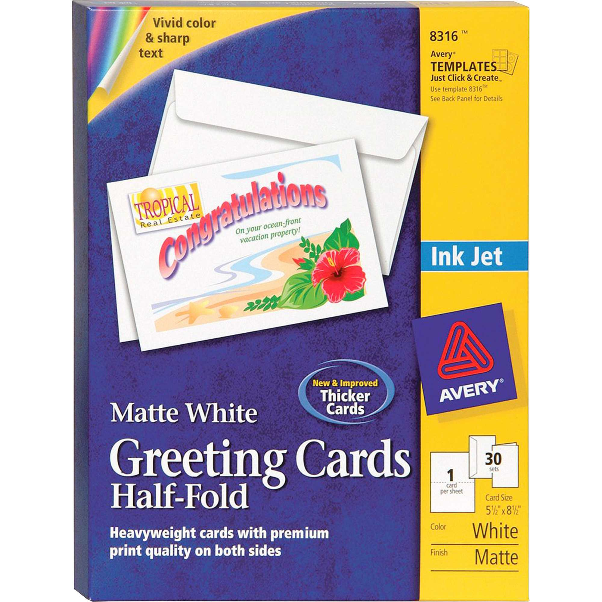 "Avery® Greeting Card - 8 1/2"" X 5 1/2"" - Matte - 30 / Box - White within Quarter Fold Greeting Card Template"