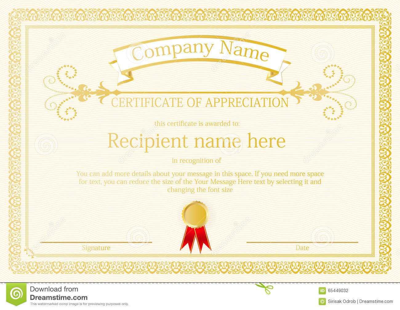 Award Certificate Frame Template Design Vector Stock Vector Intended For Award Certificate Design Template