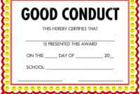 Award Certificate Good Conduct Stock Vector – Illustration pertaining to Good Conduct Certificate Template