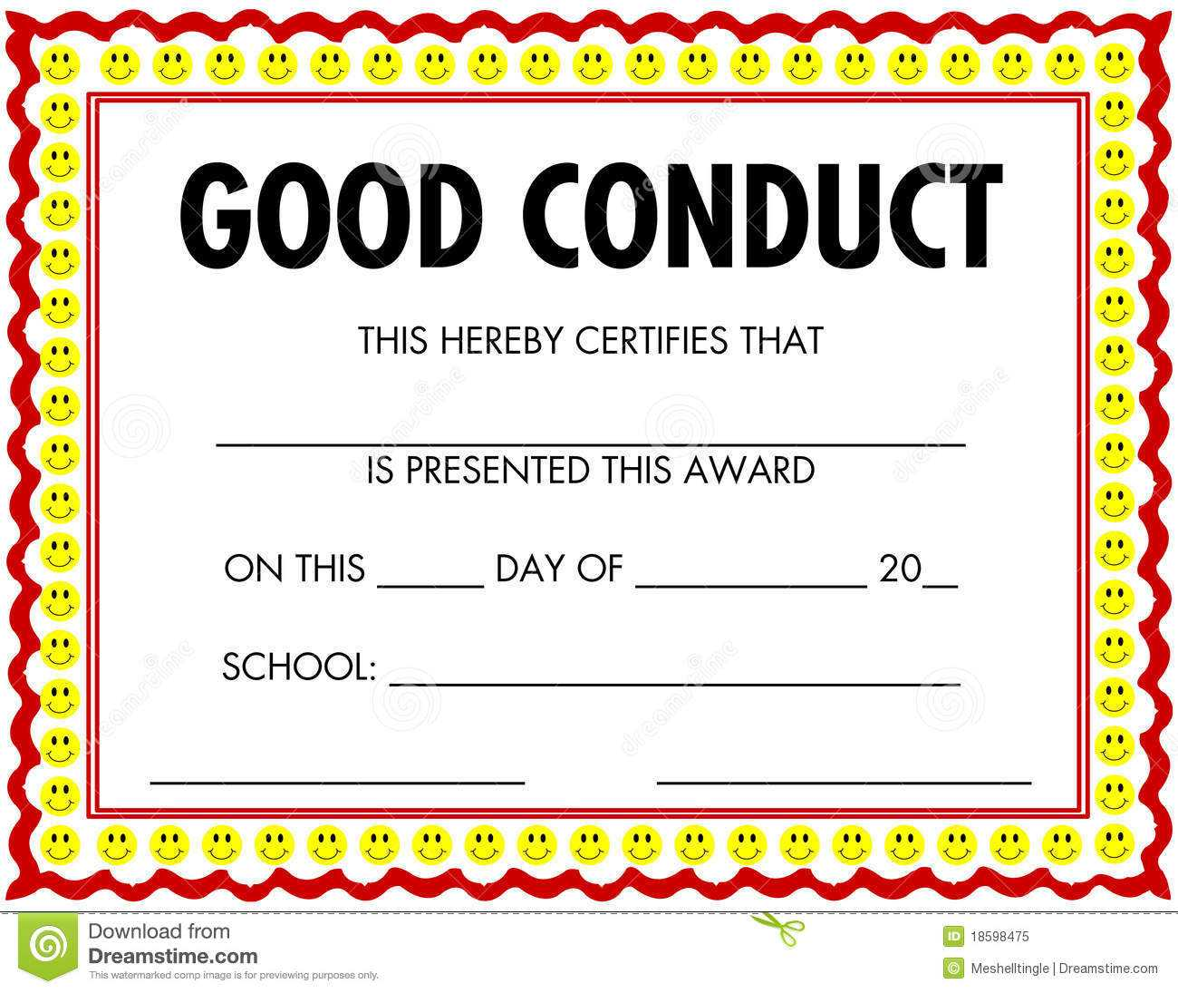 Award Certificate Good Conduct Stock Vector - Illustration pertaining to Good Conduct Certificate Template