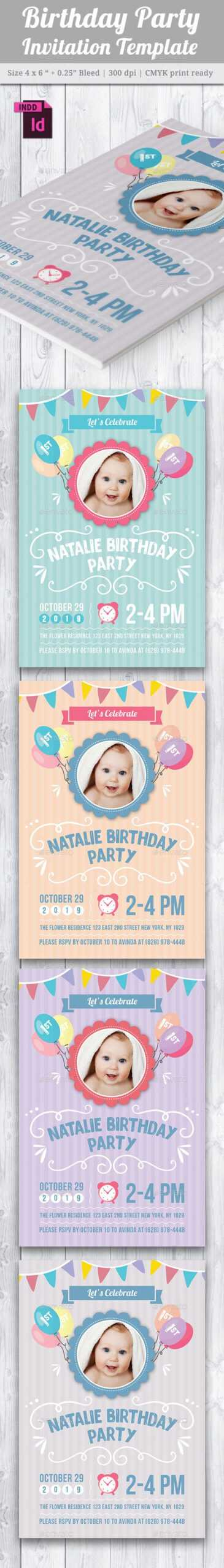 Baby Birthday Card Design Template Indesign Indd | Card Inside Birthday Card Template Indesign