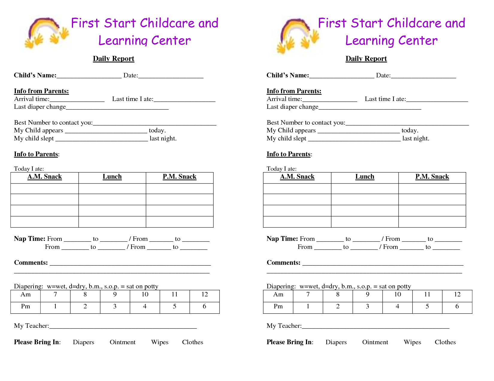 Baby Log Forms - Google Search | Infant Daily Report in Daycare Infant Daily Report Template