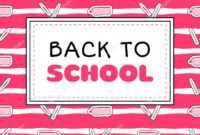 Back School Banner Template Vector Pink Girls Concept inside College Banner Template