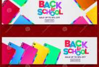 Back To School Colorful Text Banner Template With Stationary regarding Classroom Banner Template