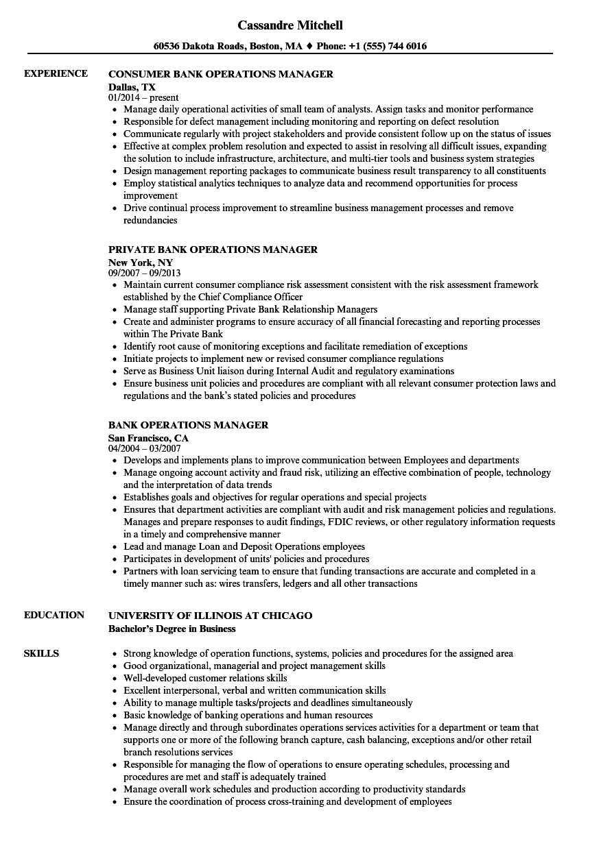 Bank Operations Manager Resume Samples | Velvet Jobs inside Operations Manager Report Template