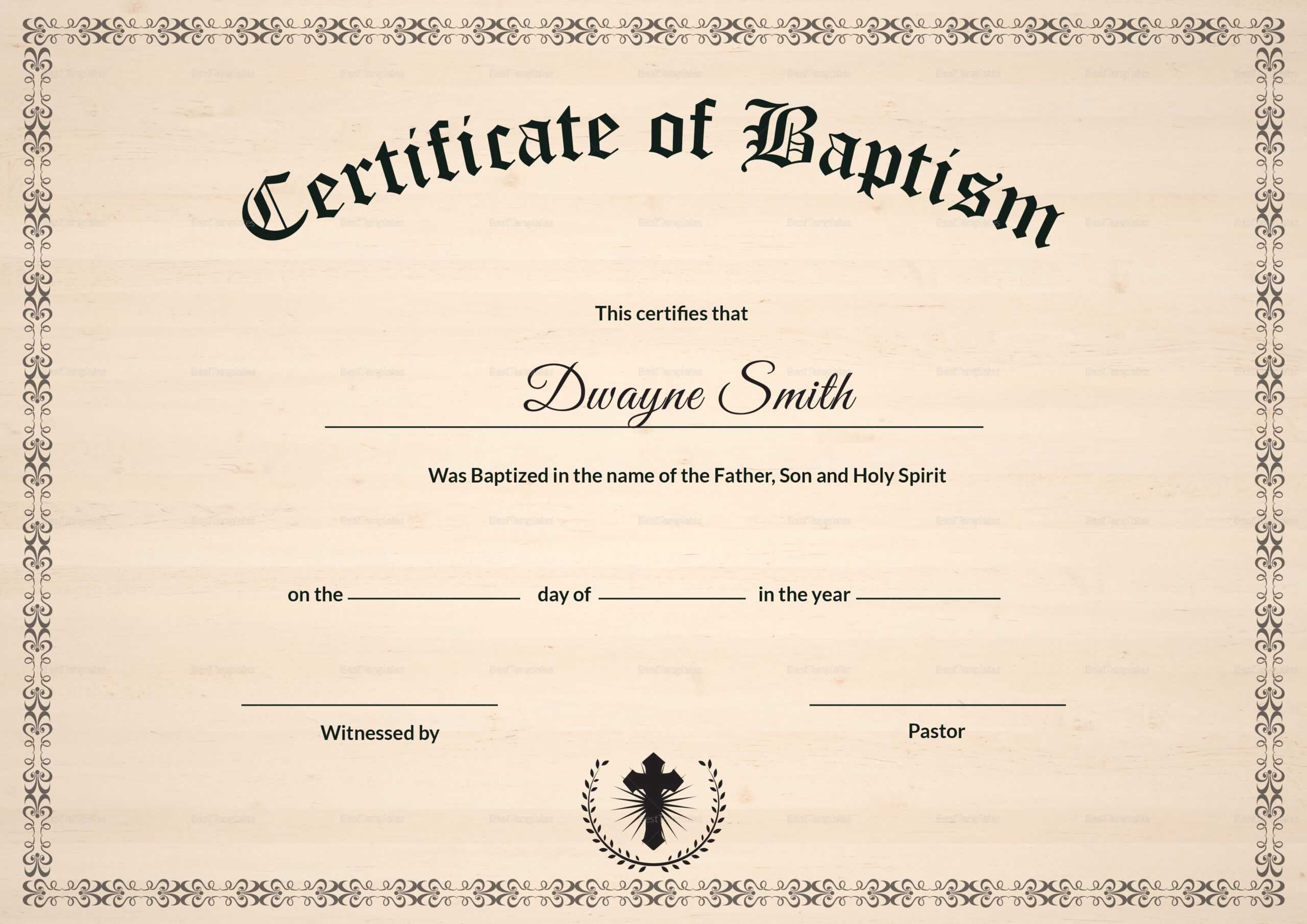 Baptism Certificate Template | Filej | Certificate Templates Inside Baptism Certificate Template Download