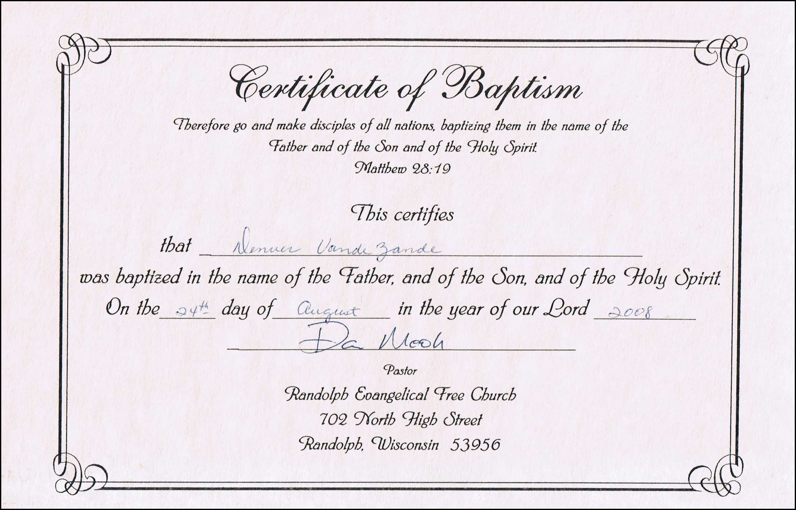 Baptism Certificate Templates For Word | Aspects Of Beauty With Baptism Certificate Template Word
