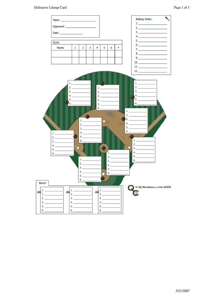 Baseball Lineup Template Fillable - Fill Online, Printable throughout Free Baseball Lineup Card Template