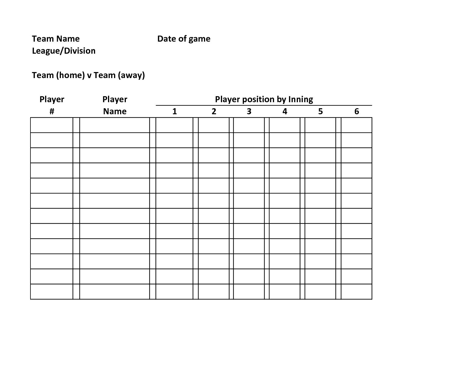 Baseball+Team+Roster+Template | Baseball Lineup, Football in Free Baseball Lineup Card Template