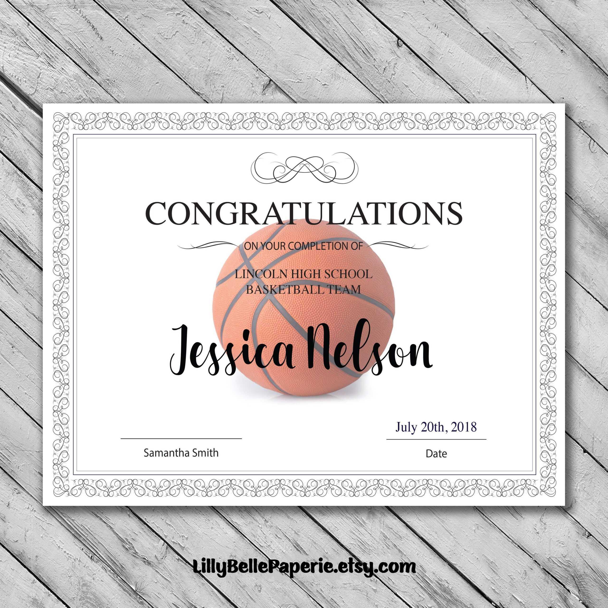 Basketball Camp Certificate Template - Atlantaauctionco For Basketball Camp Certificate Template