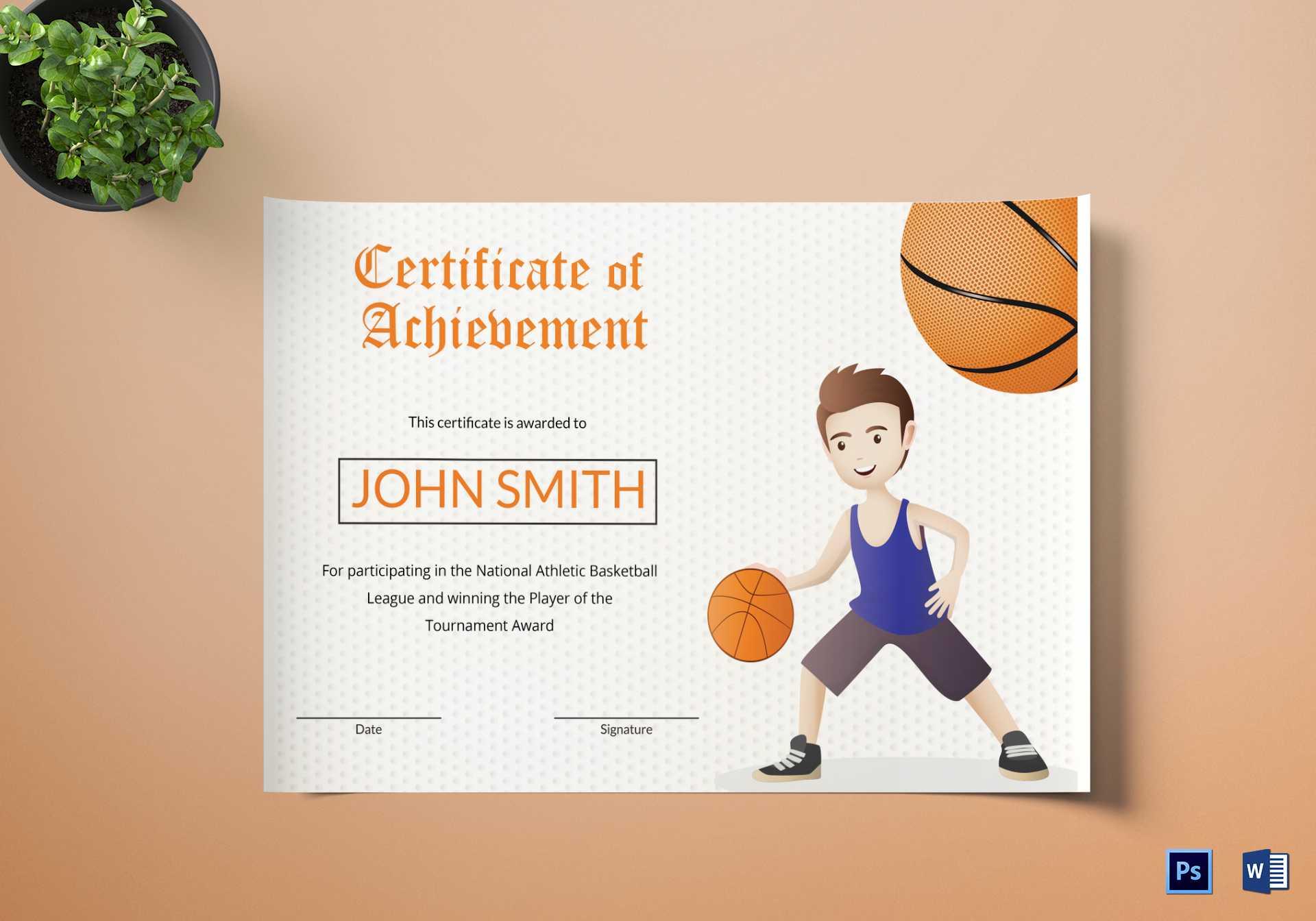 Basketball Certificate Template in Basketball Certificate Template