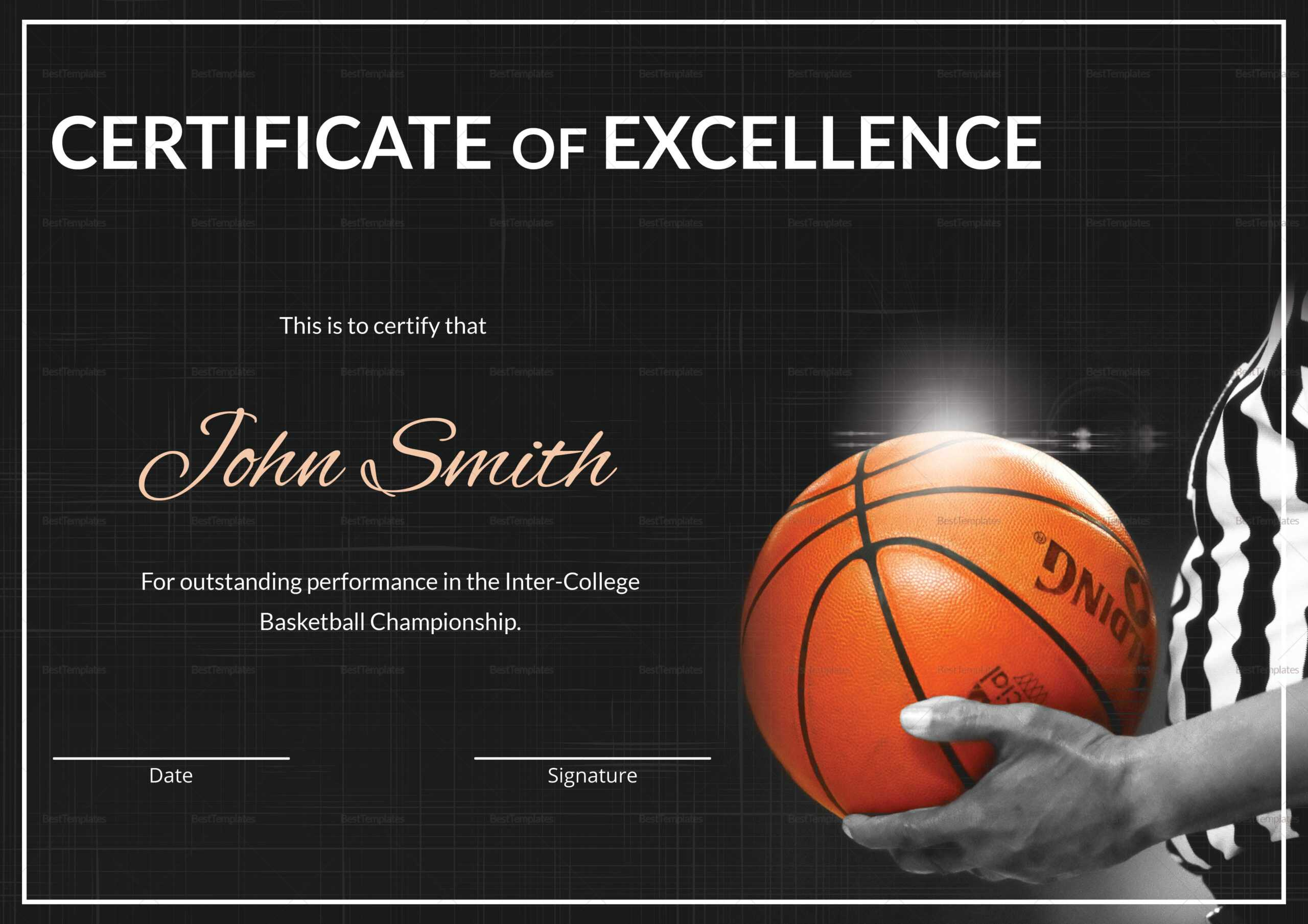 Basketball Excellence Certificate Template throughout Basketball Certificate Template