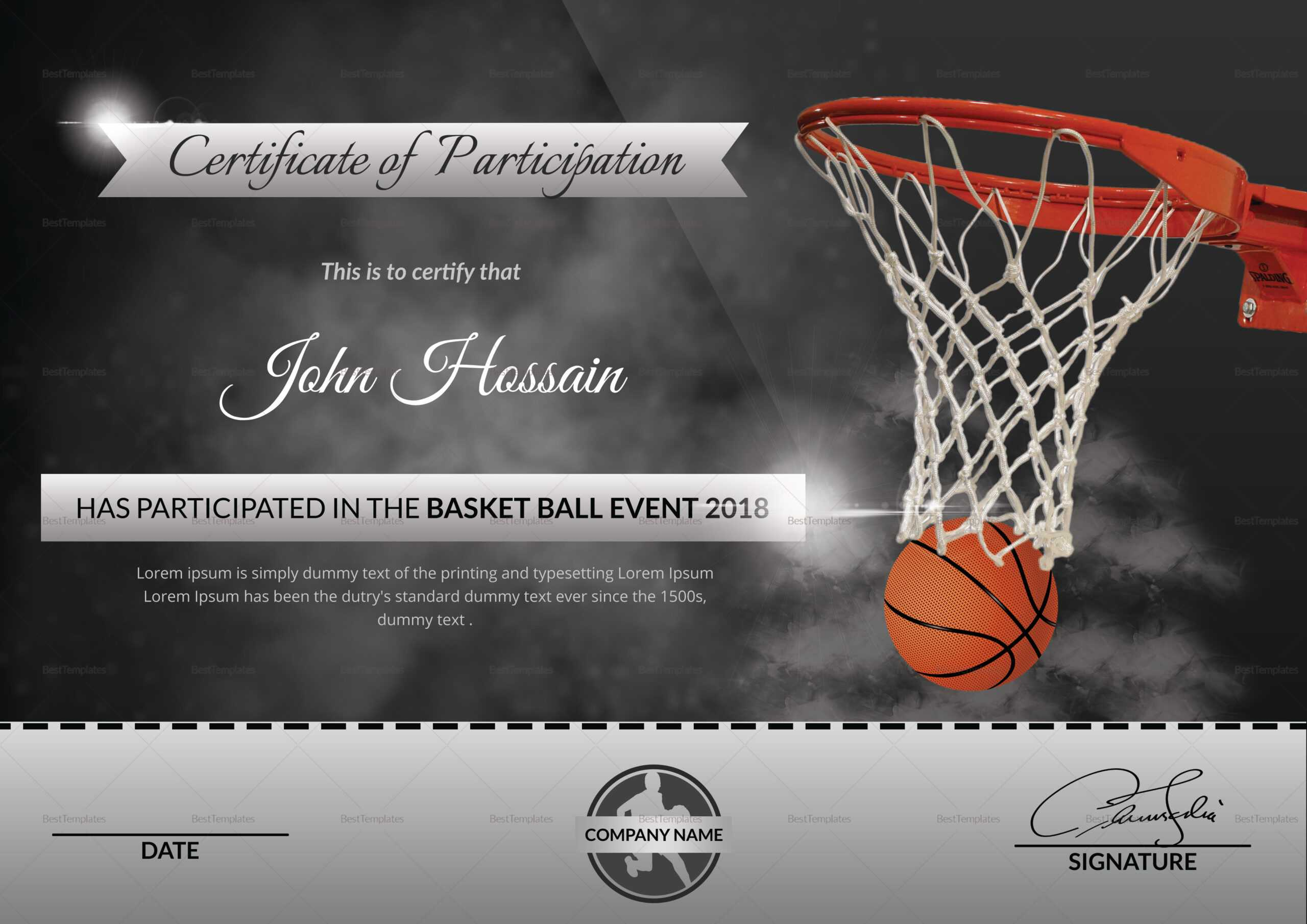 Basketball Participation Certificate Template for Basketball Certificate Template