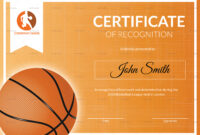 Basketball Recognition Certificate Template throughout Basketball Certificate Template