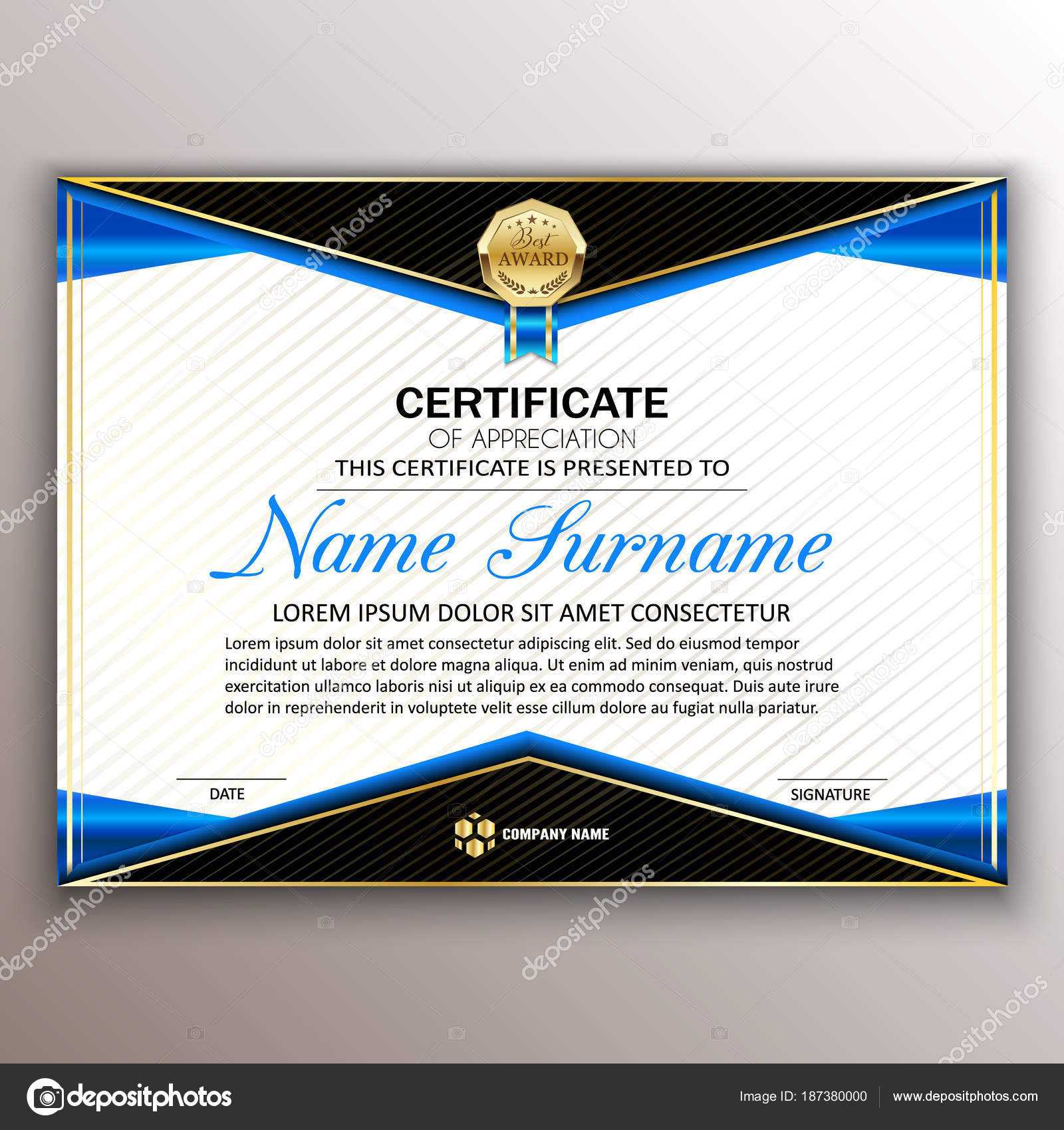 Beautiful Certificate Template Design With Best Award Symbol intended for Beautiful Certificate Templates