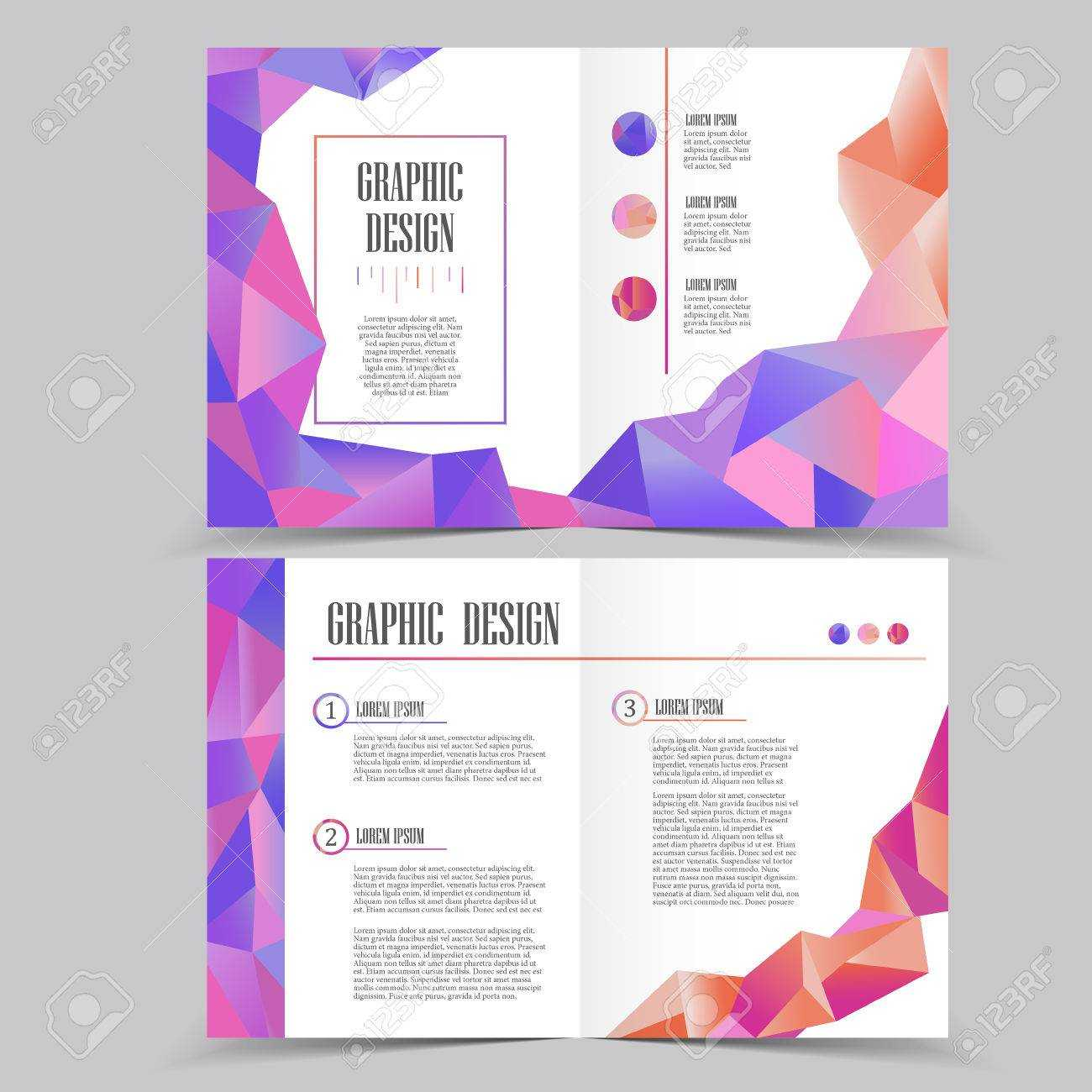 Beautiful Half-Fold Brochure Template Design With Crystal Elements for Half Page Brochure Template