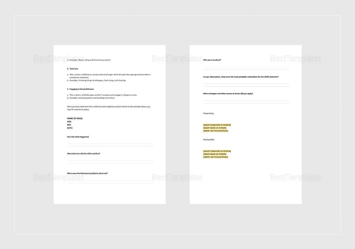 Behaviour Incident Report Template In Behaviour Report Template
