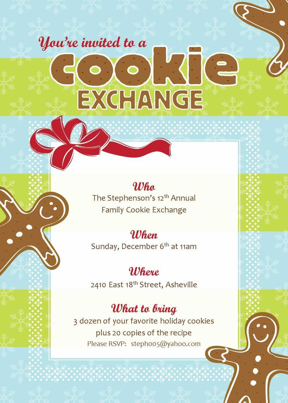 Best Photos Of Cookie Exchange Sign Up Template - Christmas regarding Cookie Exchange Recipe Card Template