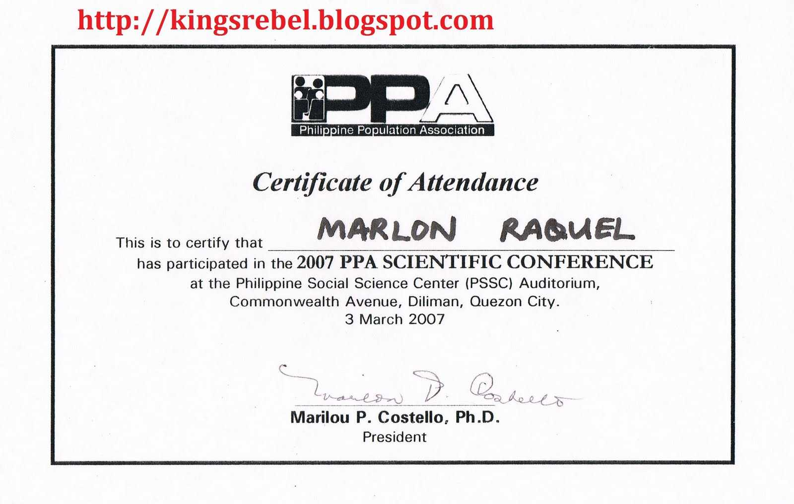 Best Photos Of Examples Of Certificate Of Attendance inside Certificate Of Attendance Conference Template
