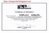 Best Photos Of Examples Of Certificate Of Attendance pertaining to Conference Certificate Of Attendance Template