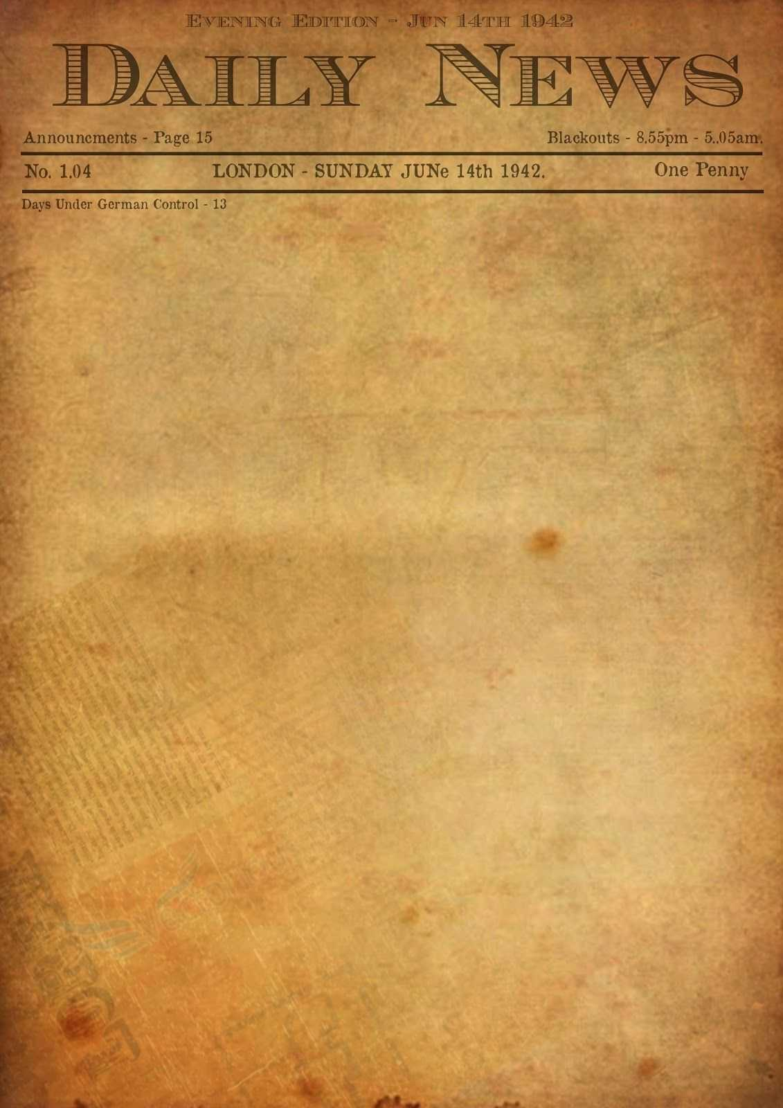 Best Photos Of Old Newspaper Template - Editable Old Intended For Blank Old Newspaper Template