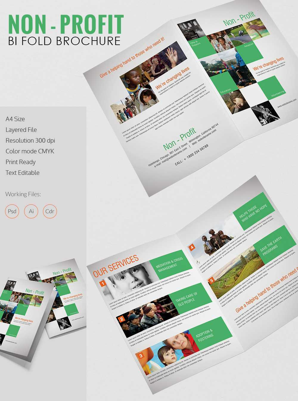 Bi Fold Brochure Template A4 Psd Free Download Illustrator within Two Fold Brochure Template Psd