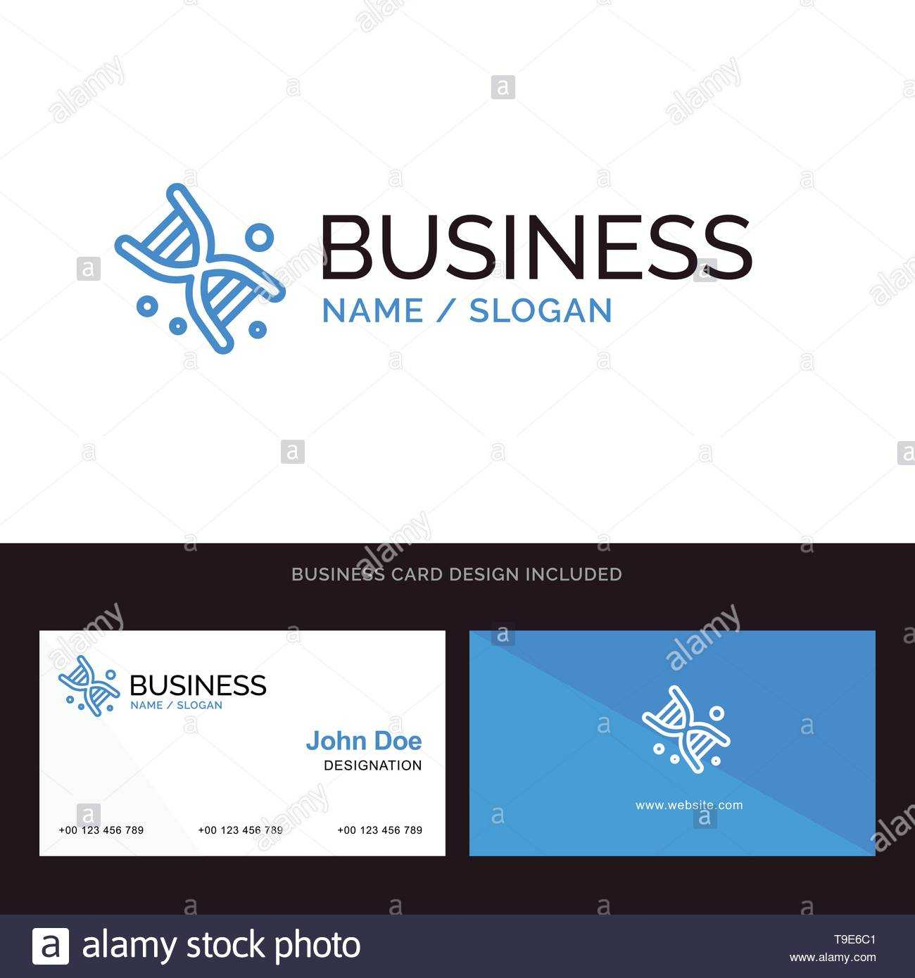 Bio, Dna, Genetics, Technology Blue Business Logo And in Bio Card Template