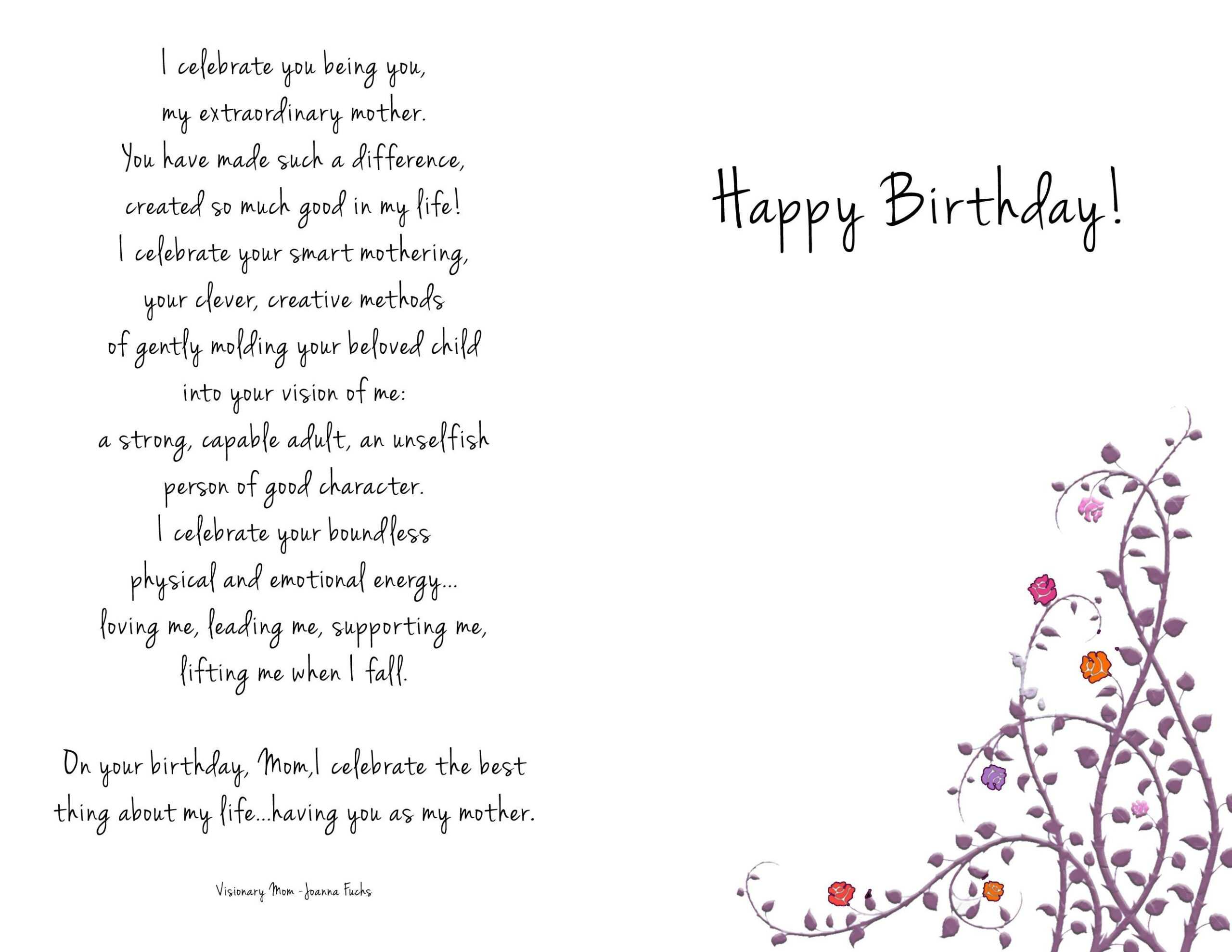 Birthday Cards Templates Collections Mom Birthday Card intended for Mom Birthday Card Template
