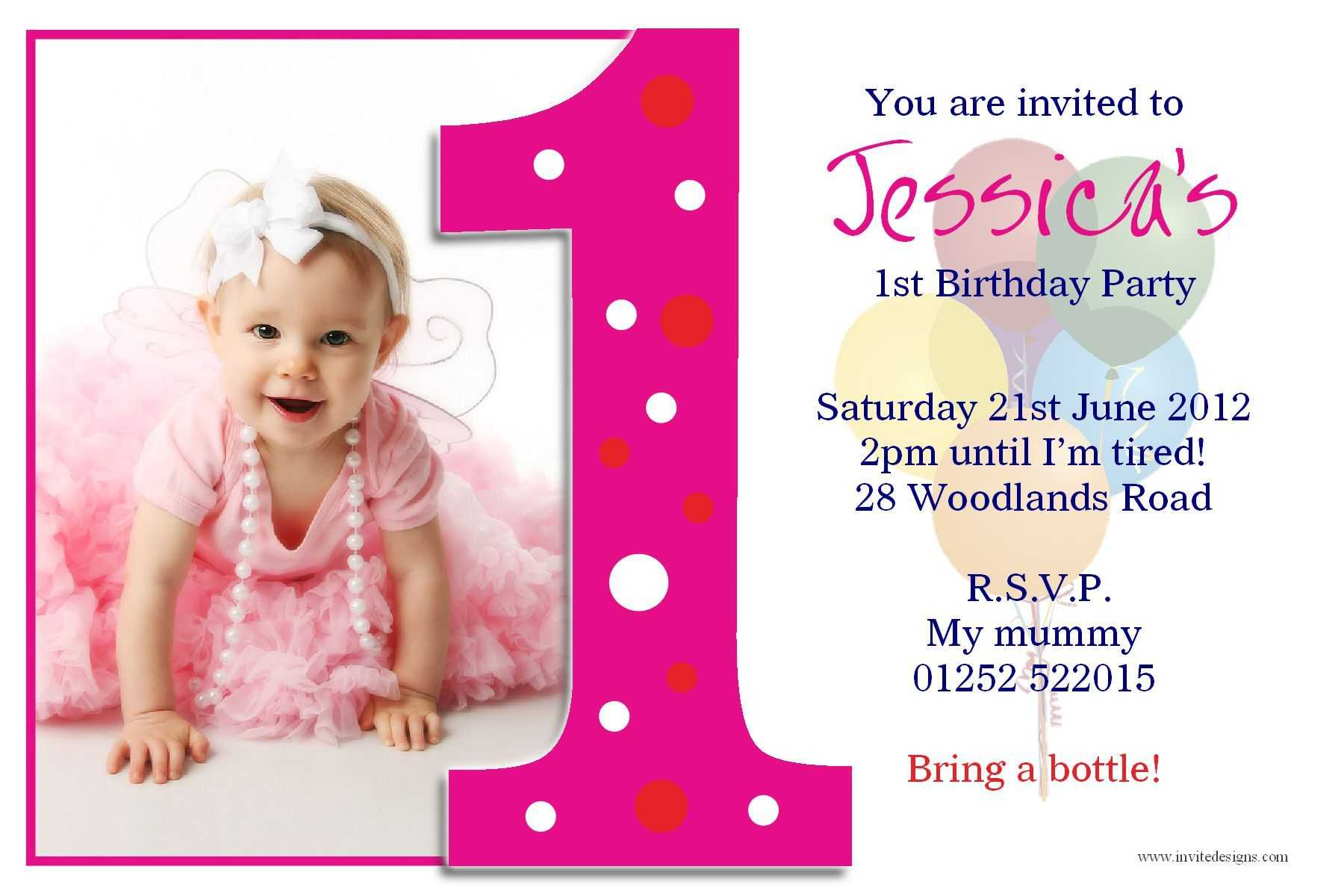 Birthday Party : First Birthday Invitations - Card In First Birthday Invitation Card Template