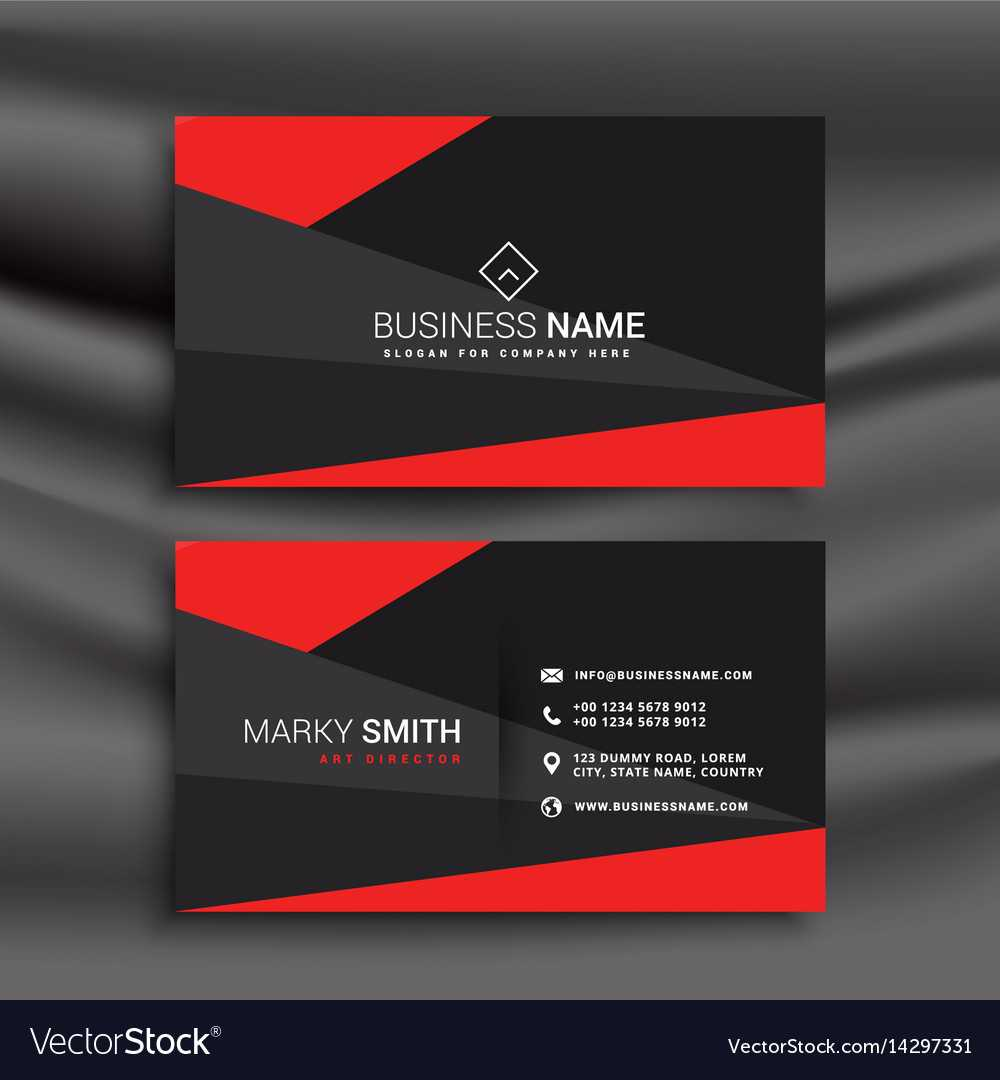 Black And Red Business Card Template With In Buisness Card Template
