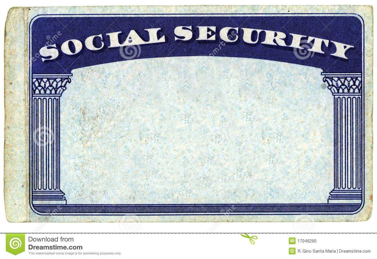 Blank American Social Security Card Stock Photo - Image Of Throughout Blank Social Security Card Template Download